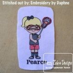 Lacrosse Girl Sketch Embroidery Design