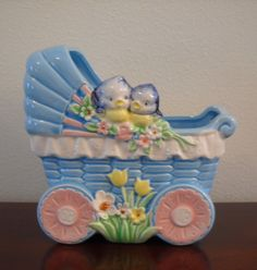 Vintage Baby Carriage Planter Made in japan by DimeStoreThrift