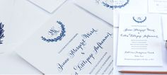 colette creative, wedding invitations, navy and white, wreath wedding invitations