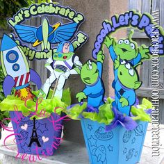 Personalized Party Decor by GracefullyBlooming Toy Story Theme, Toy Story Birthday, Toy Story Party, 2nd Birthday Parties, Toy Story Centerpieces, Party Centerpieces, Buzz Lightyear, Cumple Toy Story, Party Gifts