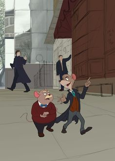 THE GREAT MOUSE DETECTIVE by atarial  (april 2014) Sherlock and John are in the background!