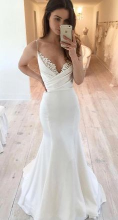 White Spaghetti straps Satin Wedding Dress, Pleat Lace Mermaid Wedding Dresses,Bridal Gowns, 177 from Loveprom - Hochzeitskleid Spaghetti Strap Wedding Dress, Wedding Dresses With Straps, Lace Mermaid Wedding Dress, Black Wedding Dresses, Mermaid Prom Dresses, Bridal Dresses, Spaghetti Straps, Tulle Wedding, Glitter Wedding