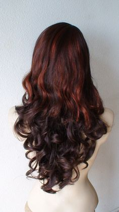 Ombre Auburn wig. Auburn with cooper red two tone wig. by kekeshop, $72.95