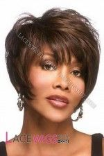 Vivica Fox wigs include chemo wigs that feature high heat-resistant fibers, allowing the use of a curling iron at lower temperatures. These cancer patients' wigs offer sure stretch cap™ wig cap technology for all day comfort without tightness. My Hairstyle, Wig Hairstyles, Straight Hairstyles, Hairstyles 2016, Mullet Hairstyle, Black Hairstyle, Short Haircuts, Wig Styles, Curly Hair Styles