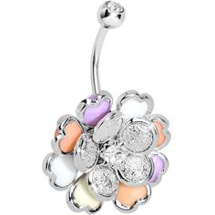 Clear Gem Multi Petal Flowering Hearts Belly Ring | Body Candy Body Jewelry