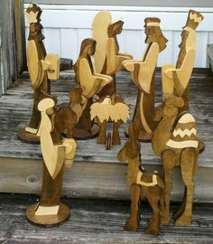 Nativity Scene.w different colored wood
