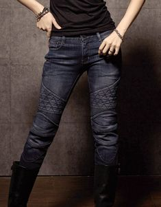 GUARDIAN-G (Blue), $298.00  • Quilted thigh panels • 12oz stretched Denim • Elastic shirring knee & waist-lower back panels • CE approved Removable knee & hip protectors included • YKK® Zipper • POWERTECTOR®  Check out http://www.uglybrosusa.com/shop/guardian-girls/