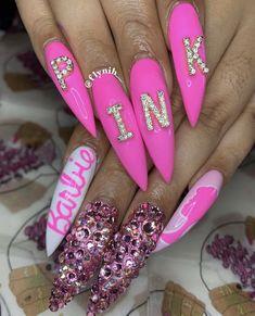 Happy pink birthday baby 😍😍😍 is about that nail life ! Ongles Roses Barbie, Barbie Pink Nails, Summer Acrylic Nails, Best Acrylic Nails, Summer Nails, Coffin Nails, Gel Nails, Nail Polish, Nail Swag
