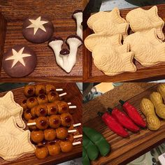 Assorted hashioki: vegetables and baked goods.