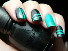Turquoise and Black Striped Mani