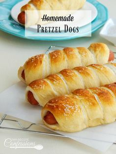 Homemade Pretzel Dogs are the best pretzel dogs ever! This recipe is super easy and everybody always loves them! These Homemade Pretzel Dogs are a hundred times better than any store-bought pretzel dog. Hot Dog Recipes, My Recipes, Favorite Recipes, Bread Recipes, Sausage Recipes, Easy Dinner Recipes, Appetizer Recipes, Appetizer Dinner, Appetizers