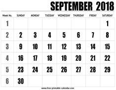 2018 calendar september
