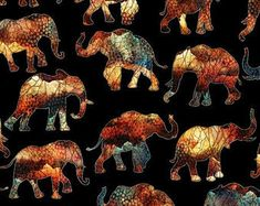 Elephant fabric Paisley fabric Quilting fabric cotton