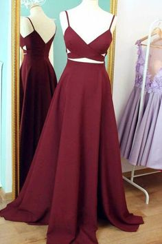 Straps Prom Dresses, Burgundy Prom Dress, Long Evening Dress, Simple Formal Dresses, Prom Dress
