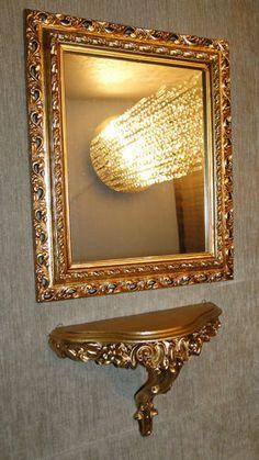 Mirror WANDSPIEGEL GOLD ANTIK MIT SPIEGELKONSOLE BAROCK 43X36 BADSPIEGEL REGALE RAHMEN