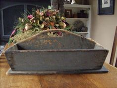 Very old wood tote with original grey paint.  Perfect for the country, shabby, romantic and cottage chic decor.  $70