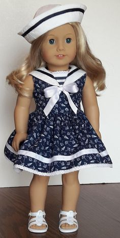 Umbrella Print Sailor Style Dress Fits American Girl Or Similar 18-Inch Dolls
