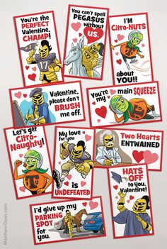 I illustrated a set of custom Valentines for the University of Central Florida featuring current and past mascots.