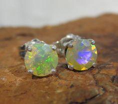 Natural Ethiopian Opal Stud Earrings Sterling By Zozodesignsusa Studs Pierced