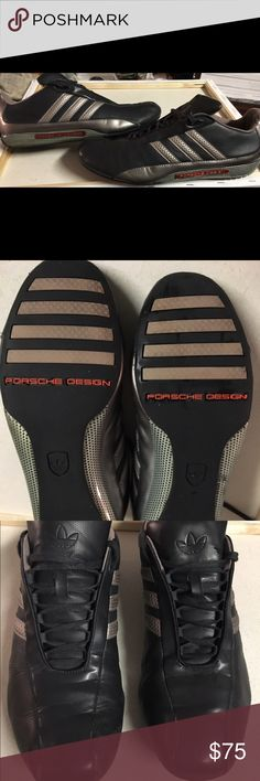 Men's Adidas Porsche Design shoes sz US 10.5 Unique Porsche Design Adidas shoes. Black w dark silver stripes featuring Porsche treading. Lille new condition see bottoms. Size US 10.5 Adidas Shoes Sneakers