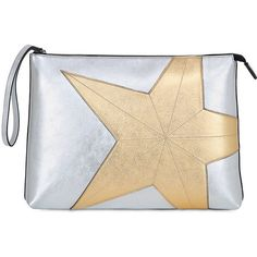 N°21 Women Star Metallic Leather Maxi Pouch (23,385 DOP) ❤ liked on Polyvore featuring bags, handbags, clutches, leather clutches, real leather handbags, beige leather handbag, beige leather purse and leather purses
