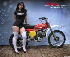 Girl with a KTM motorcycle Vintage Bikes, Vintage Motorcycles, Vintage Motocross, Lady Biker, Biker Girl, Girl Motorcycle, Ducati, Chicks On Bikes, Moto Cross