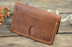 This personalized Leather Credit Card Wallet is made with rustic oil tanned cow leather and fine waxed thread. This is a gift that will be used and loved for a lifetime!