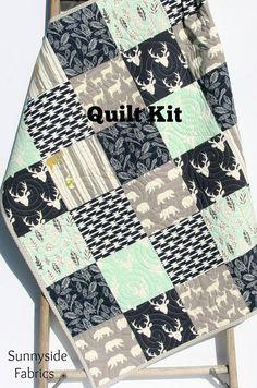 Quilt Kit, Woodland Boy Rustic Aztec Navy Blue Mint Green Blue Gray Buck Forest Deer Birch Organic Fabrics, Crib Bedding, Quilting Sewing by SunnysideFabrics