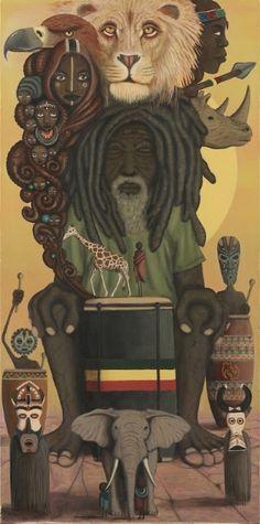 """Heartbeat of the Nyabinghi"" ~ Paul Lewin (San Francisco based artist) Lion Rasta, Rasta Art, Reggae Art, Reggae Style, Reggae Music, African American Art, African Art, Art And Illustration, Rastafari Art"