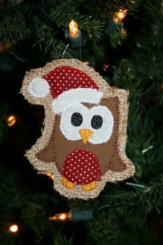 READY TO SHIP -burlap christmas ornament unique christmas by SouthernStyleStitche, $7.00