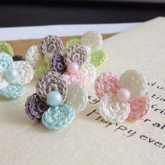 春色パステル♪小さなお花の編みピアス/イヤリング・ノンホールピアス