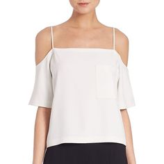 T by Alexander Wang Poly Crepe Off-The Shoulder Top ($155) ❤ liked on Polyvore featuring tops, apparel & accessories, open shoulder top, off the shoulder short sleeve tops, white short sleeve top, button back top and white spaghetti strap top