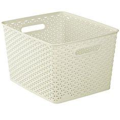 Curver Large Faux Rattan Storage Basket Organiser 18L
