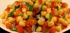 Chickpea and Tomato Salad (garbanzo beans, red onion, tomato, garlic, parsley, olive oil, lemon juice,  salt and pepper)
