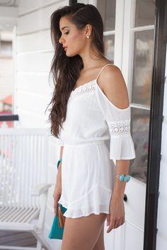 White Bohemian Playsuit w/ Shoulder Cutouts
