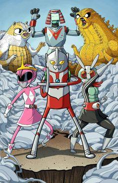 Pink ranger princess bubblegum, b mo gina the robot, finn
