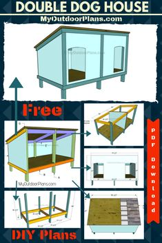 This step by step diy woodworking project is about double dog house plans. Building a large dog house for your pets is a complex project that requires a proper planning. Wood Dog House, Pallet Dog House, Build A Dog House, Double Dog House, Large Dog House Plans, Small Dog House, Dog House Plans Insulated, Dog Wash, Outdoor Dog