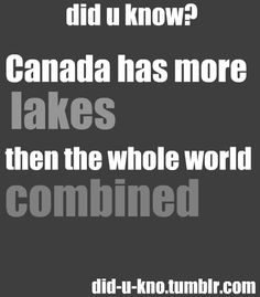 Fun fact about Canada. It has more lakes than the rest of the world combined! Canadian Memes, Canadian Things, I Am Canadian, Canadian Girls, Canadian History, Canadian Humour, All About Canada, Meanwhile In Canada, Mein Land