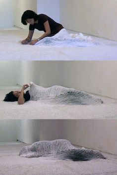 """iwantmyartnow: Bea Camacho, Efface 2008 Single-channel video11 hours2008 These pics are from a video documentation of an eleven-hour performance during which Bea Camach crocheted herself into a white carpet with white yarn. This project builds on the themes explored in an earlier video performance, """"Enclose"""", but puts more emphasis on the space around the body, which becomes an integral part of the work as her body slowly disappears into the architecture."""