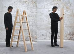 Only Furnitures    made for small domestic spaces, barcelona-based design studio company & company have made the 'corner ladder'. the redeveloped useful tool is made to fold not only flat, but also compresses horizontally into a single pole. the hinges and dowels make it easy to open and close while the wooden device maintains its structural stability. Source: companyandcompany.net