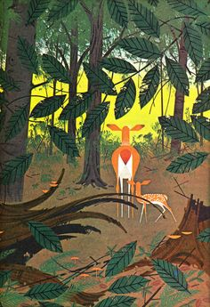 I recognized this image immediately from my 1968 Christmas present!  Bambi Finds the Meadow. Illustrated by 'Charles Harper' from The Children's Treasury of Literature  1966.