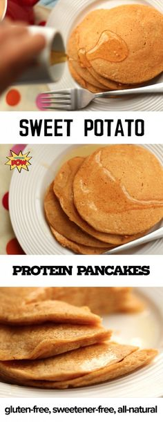 favorite recipe source for healthy food [Paleo, Vegan, Gluten free] - Sweet Potato Pancakes, Sweet Potato Protein, Sweet Potato Recipes, Protein Pancakes, Protein Foods, Paleo Pancakes, Banana Pancakes, Diet Foods, High Protein