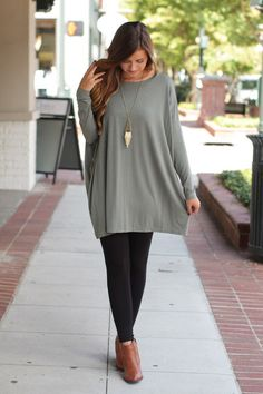This Olive piko tunic looks fabulous paired with leggings & ankle boots! Great for an outfit on the go!