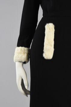 Rare 1950s Pierre Cardin Wool + Ermine Fur Dress | BUSTOWN MODERN