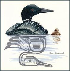 Loon & Chick is the title of this cross stitch pattern from The Stitching Studio and features a loon with her chick with a totem style mirror image of them reflected in the water.