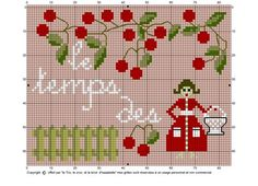 point de croix femme et le temps des cerises - cross stitch lady and cherries