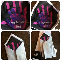 Fathers Day : The girls' handprints hidden inside a tie for daddy!