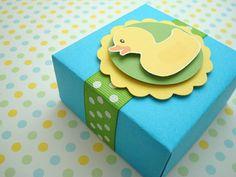Rubber Ducky Favor Boxes Blue and Green Set of Ten por SimpleTastes