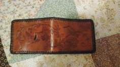Vintage hummingbird leather design on billfold. My best  leather project yet!!  I can do all thing's though Christ which strengtheneth me.   Philippians 4:13