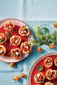 Cheese Straw Tomato Tartlets - Thanksgiving Appetizers - Southernliving. Recipe:Cheese Straw Tomato Tartlets  This short-crust (non-rising) cheese dough forms a delicate shell for these juicy little wonders.